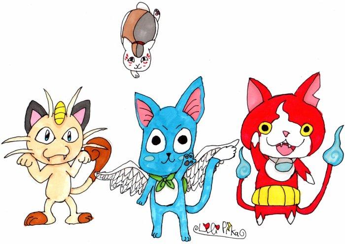 Miaouss, Happy, Jibanyan et Nyanko-sensei dessin de moi.