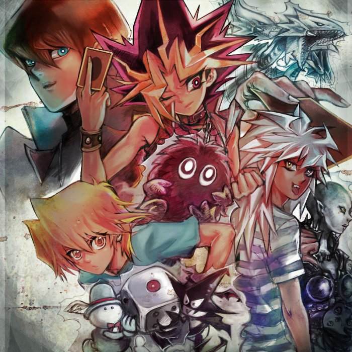 Atem, Yami Bakura, Kaiba, Jono-Uchi et leur monstres.