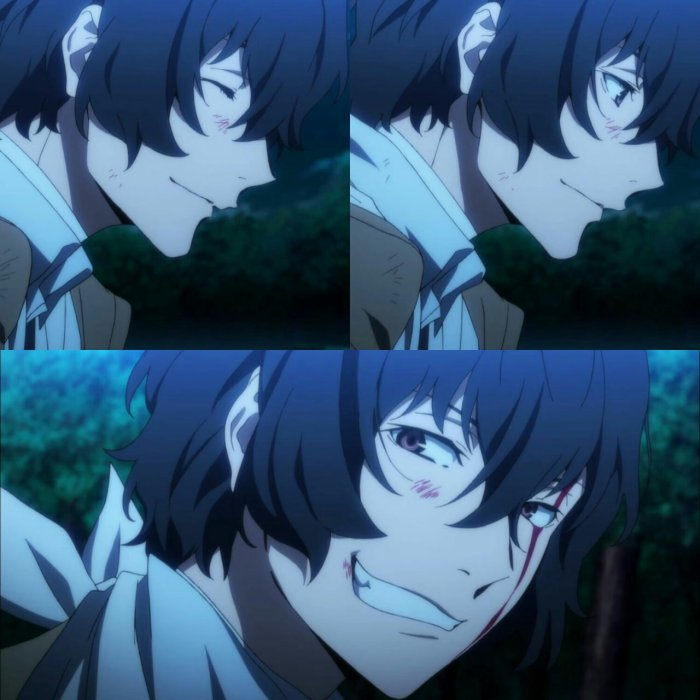 Dazai...qui sourit à Chuuya...