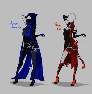 tenu de mission Ayem en bleu Mari en rouge