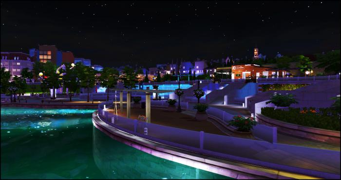 Quartier moderne de nuit - comme si vous y étiez