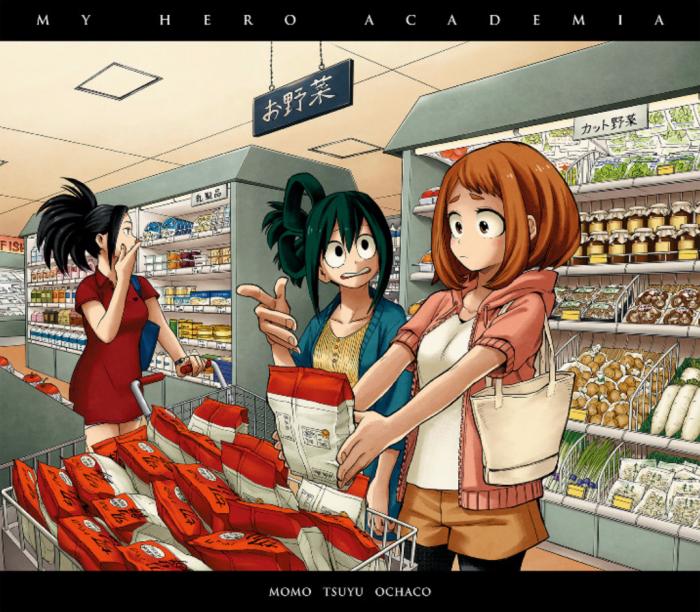 Momo, Tsuyu et Ochaco qui font les courses x)