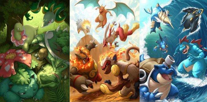 les pokémons starters *^*