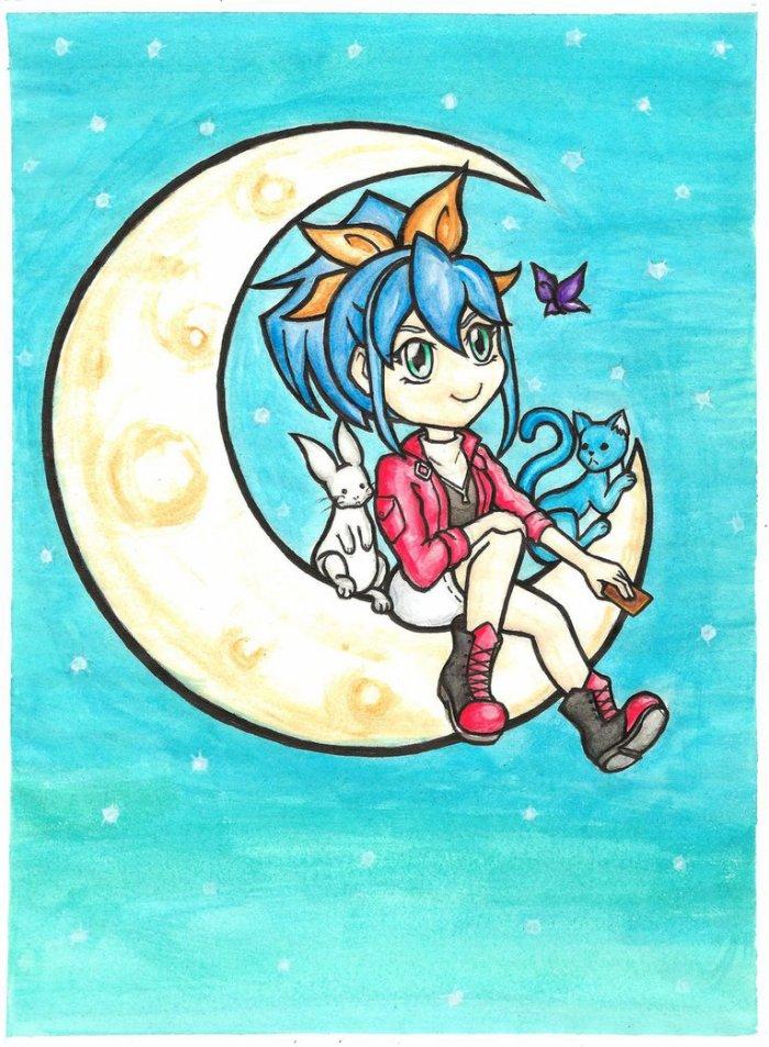 Serena sur la lune