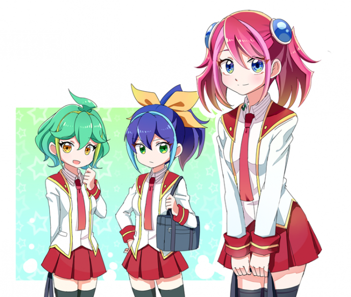 Hanabi Mikan, Takahashi Kirara et Taiyou Hikari en uniforme