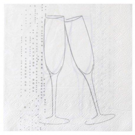 Serviette de table champagne argent papier blanc x20 Serviette papier