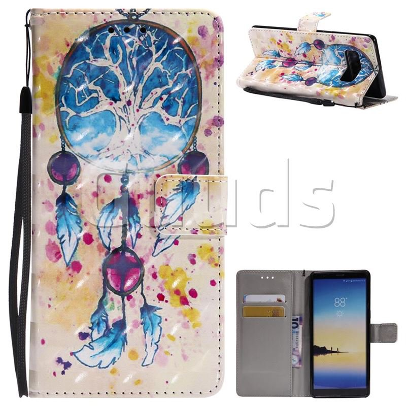 Blue Dream Catcher 3D Painted Leather Wallet Case for Samsung Galaxy Note 8 - Leather Case - Guuds
