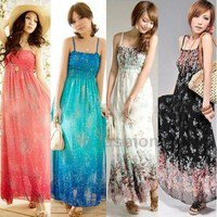 Womens Sexy Sleeveless Floral Chiffon Maxi Long Dresses Summer Beach Dress