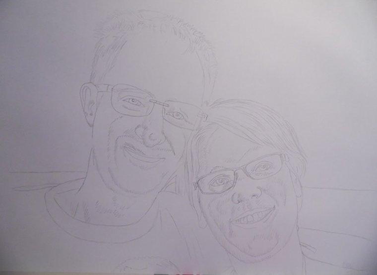Pas à pas détaillé du portrait de Christophe et Christelle ...