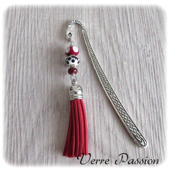 Marque-pages perles de verre au chalumeau blanc et rouge : Marque-pages par verrepassion