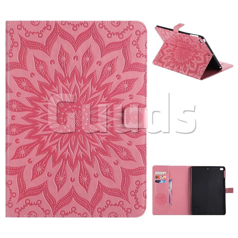 Embossing Sunflower Leather Flip Cover for iPad Air iPad5 - Pink - Leather Case - Guuds