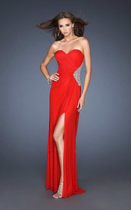 Pleated Dress Detail Sparkly Sequin Side Y Leg Cut Cutout Deatil Back Red Prom Dresses