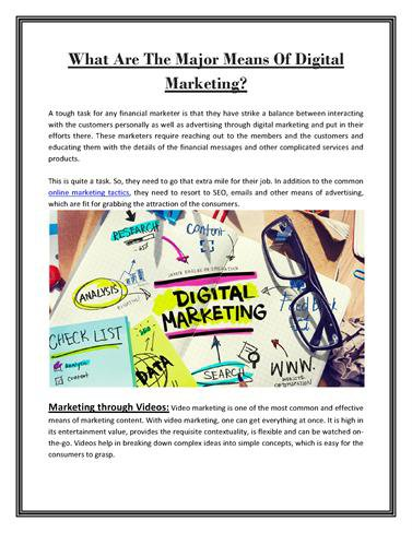 What are the Major Means of Digital Marketing