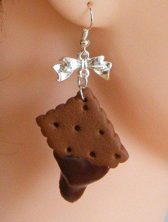 Boucle d'oreille biscuit en fimo Argent 925