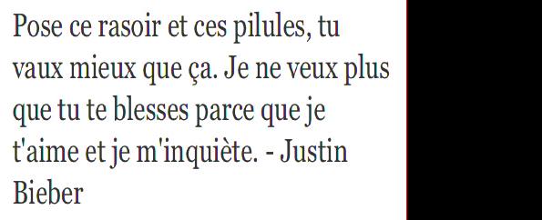 '' Justin en a rien à foutre de ta gueule NON mais allo regarder se qu'il a marquer a une beliebers c'est trop mignon (l)(l)(l)(l)