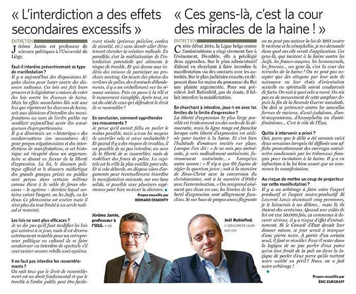 Interview dans Le Soir de ce lundi, à propos de la pertinence de la demande d'interdiction de la «Journée de la Haine» organisée par le député antisémite Laurent Louis.