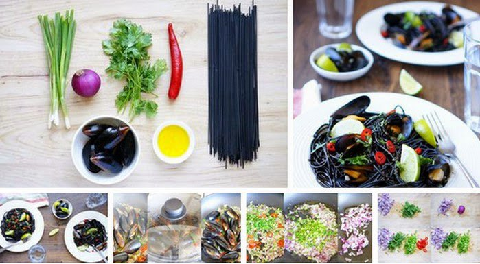 Delicious Foods: Black pasta with Mussels Recipe