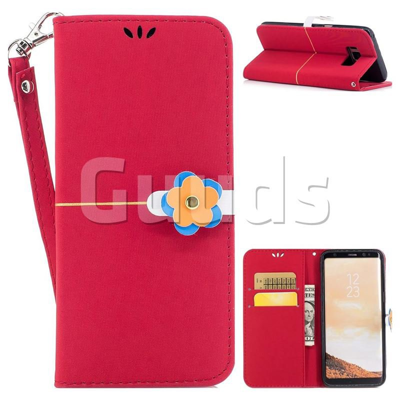 Gold Velvet Smooth PU Leather Wallet Case for Samsung Galaxy S8 Plus S8+ - Red - Leather Case - Guuds
