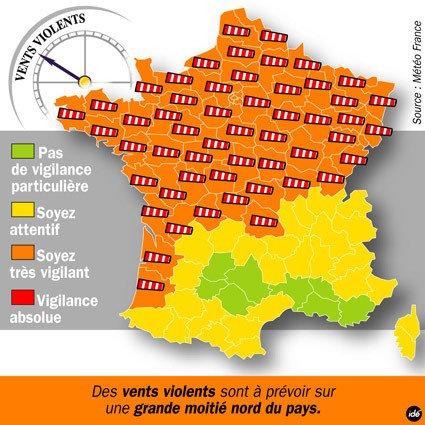 Carte : 61 départements en alerte orange à la tempête