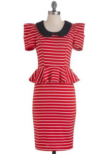 Work with Me Dress in Red Stripes | Mod Retro Vintage Dresses | ModCloth.com