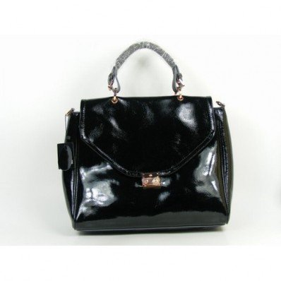 Crafted Mulberry Polly Push Lock Tote Bag Black With Good Quality