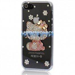 Coque Iphone 5 Diamants Hello Kitty Transparent - Lutintronics