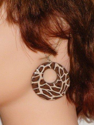 Boucles d'oreilles créole léopard en fimo Argent 925