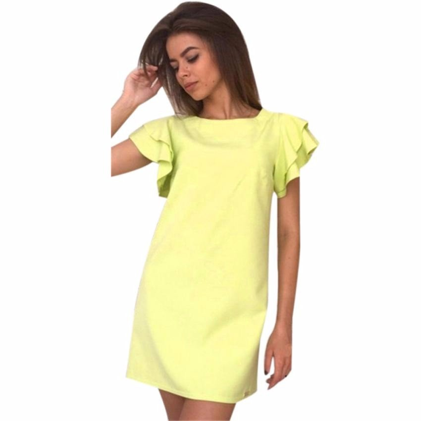 Fashion Women's Summer Dress Butterfly Sleeve Backless Solid – Express Delivry
