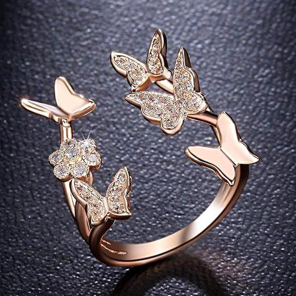 Butterfly Ring Rose Gold Color
