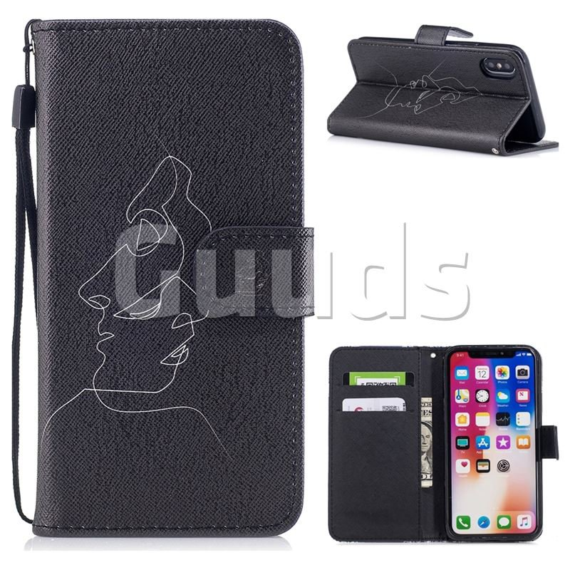 Kiss Streak PU Leather Wallet Case for iPhone X(5.8 inch) - Leather Case - Guuds