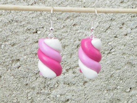Boucle d'oreille marshmallow en fimo Argent 925 : Boucles d'oreille par jl-bijoux-creation