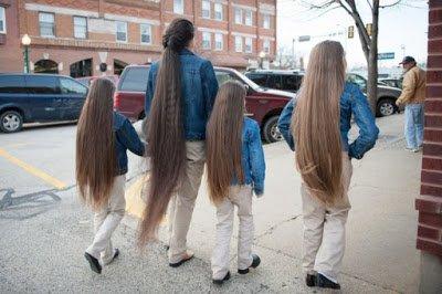 أم وبنتها، أطول شعر في العالم - حالة فريدة