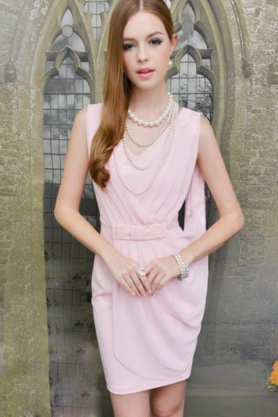Elegant Pink Pleated Dress - OASAP.com