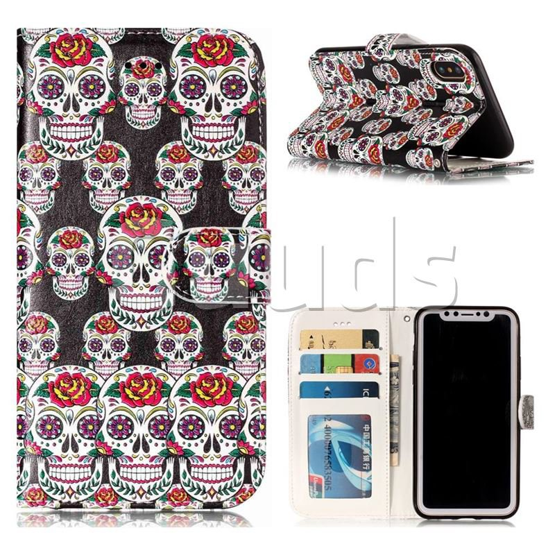 Flower Skull 3D Relief Oil PU Leather Wallet Case for iPhone X(5.8 inch) - Leather Case - Guuds