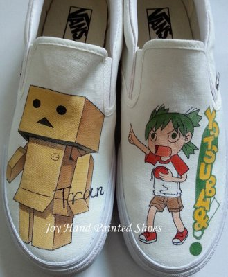 Custom Danbo from Yotsuba&! manga hand painted shoes,High-top Painted Canvas Shoes