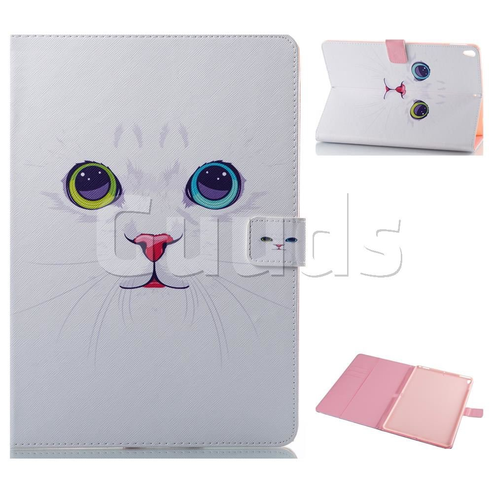 White Cat Folio Stand Leather Wallet Case for iPad Pro 10.5 - Leather Case - Guuds