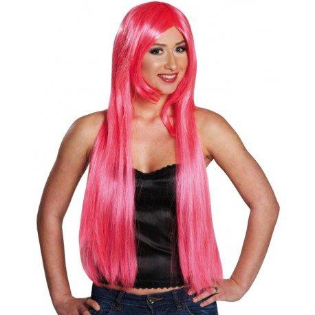 Perruque longue rose femme : achat Perruque rose fluo femme
