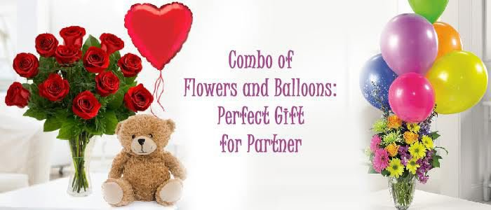 Combo of Flowers and Balloons: Perfect Gift for Partner