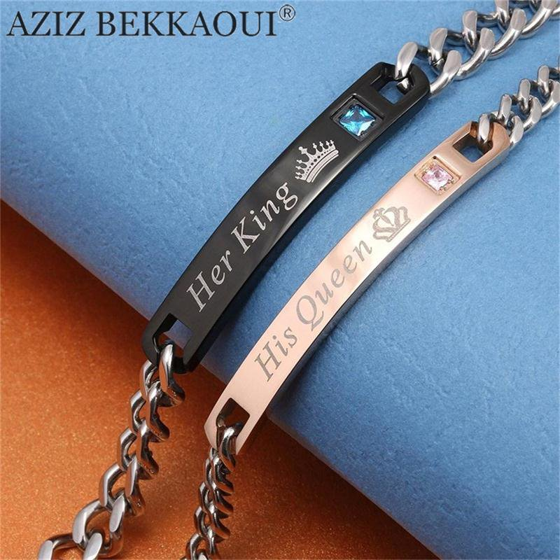 AZIZ BEKKAOUI DIY Her King His Queen Couple Bracelets Stainless Steel Crytal Crown Charm Bracelets For Women Men Drop Shipping-in Charm Bracelets from Jewelry & Accessories on Aliexpress.com | Alib...