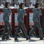 * MERCREDI 21 MARS - Selena et ses co-stars tournant une scene pour les besoins de « Spring Breakers ».*