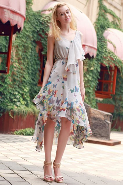 Butterfly Printing Irregular Hem Sleeveless Chiffon Dress - OASAP.com