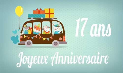 Carte anniversaire enfant 17 ans bus
