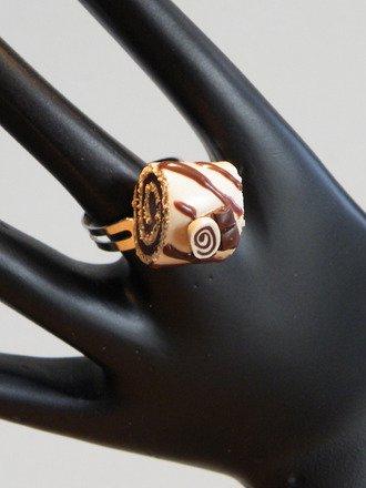 Bague Bûche de noël en fimo réglable : Bague par jl-bijoux-creation