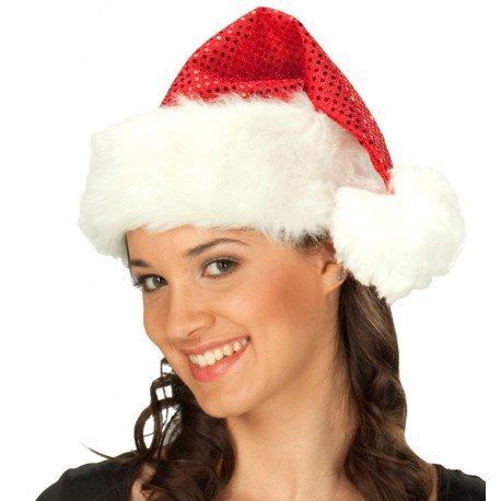 Bonnet de Noël rouge à sequins adulte Bonnet Père Noël à paillettes