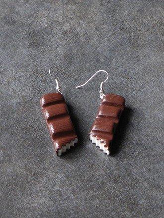 Boucle d'oreille barre de chocolat croquée en fimo Argent 925