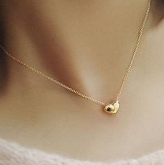 Gold Plated Heart Short Metal Chain Pendant Necklace For Women FREE SHIPPING