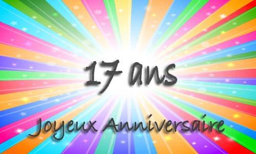 Carte anniversaire humour 17 ans multicolor
