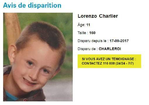 Lorenzo, 11 ans, a disparu à Charleroi