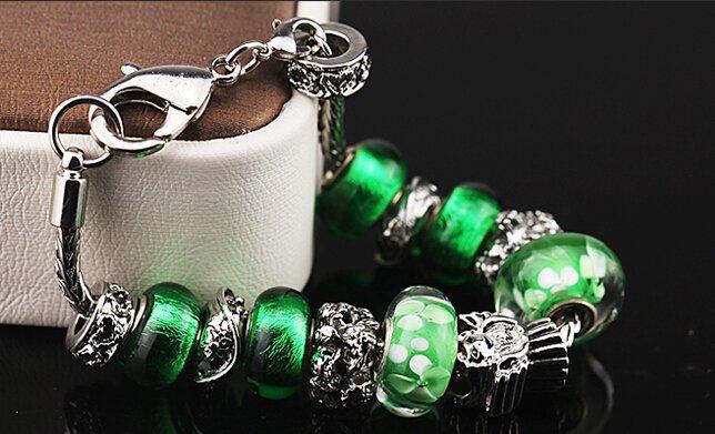 Vert Coloured glaze fashion petite amie cadeaux femme bracelet 19cm+8cm(W021)