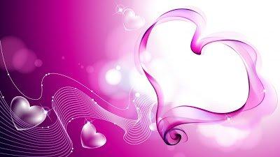 3D Purple Smoky Heart Shape With Aero Background